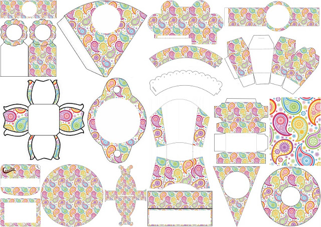 Free Printable Kit with Paisley Design.