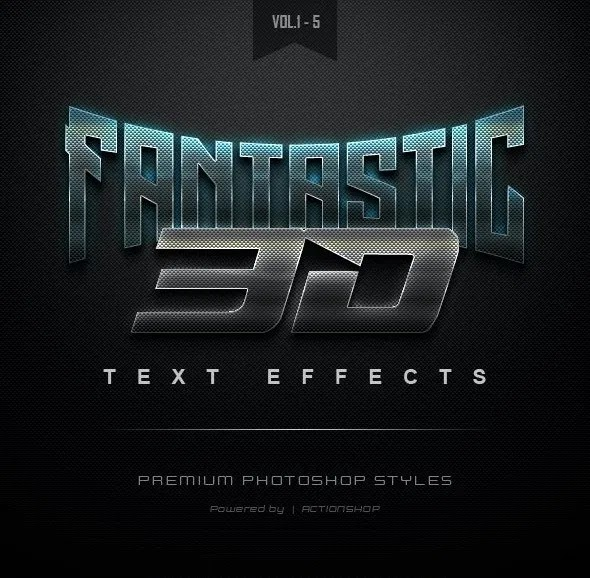 Graphicriver 3D Text Effects Bundle One 22461384 Vol.[1-5]