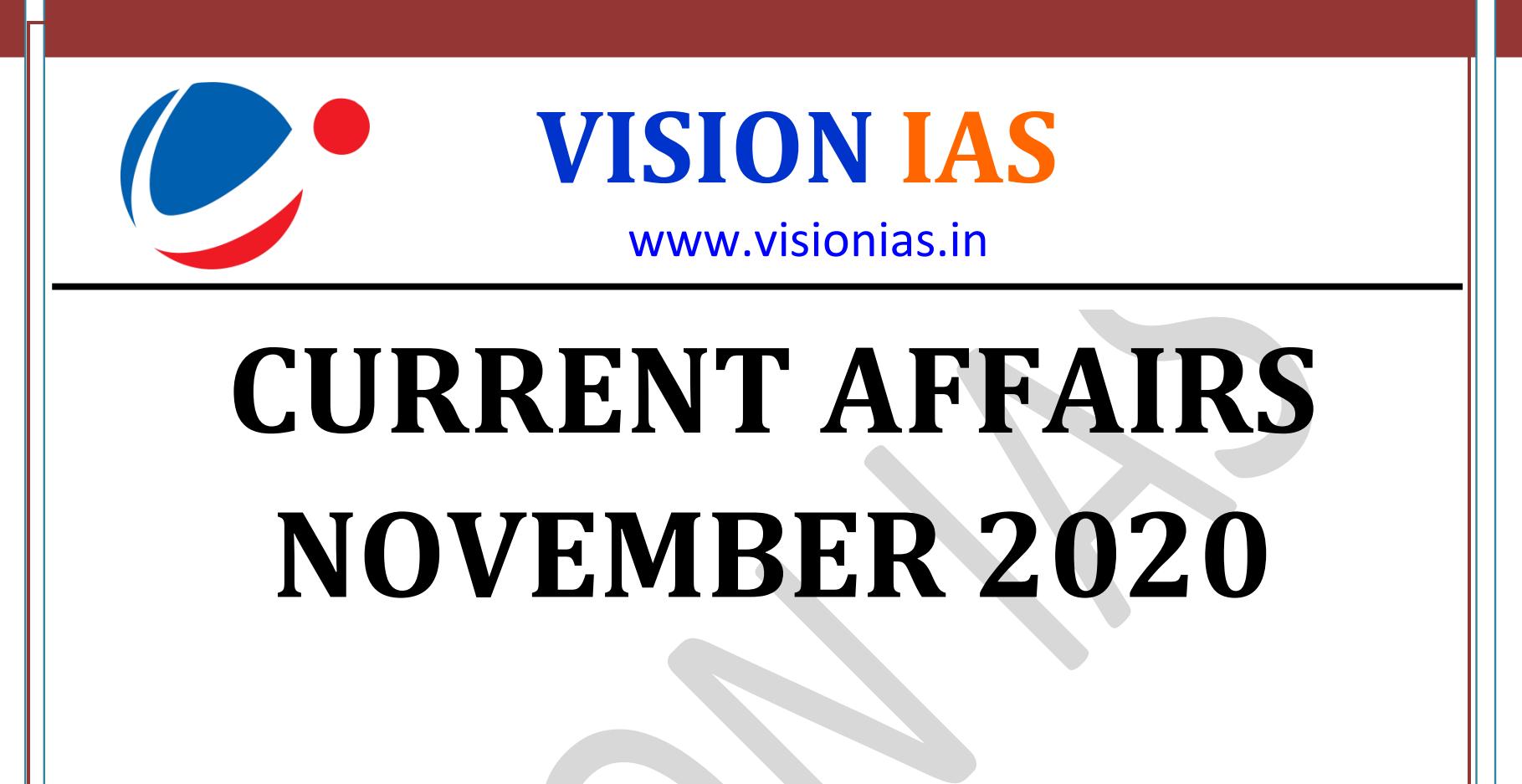 Vision IAS Current Affairs November 2020 pdf