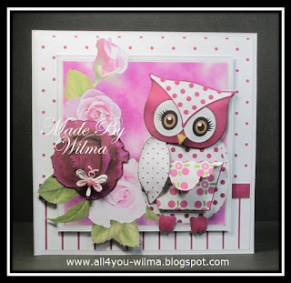 Een felicitatiekaart met een gestippelde uil voor Melissa. A congratulatory card with a dotted owl for Melissa.