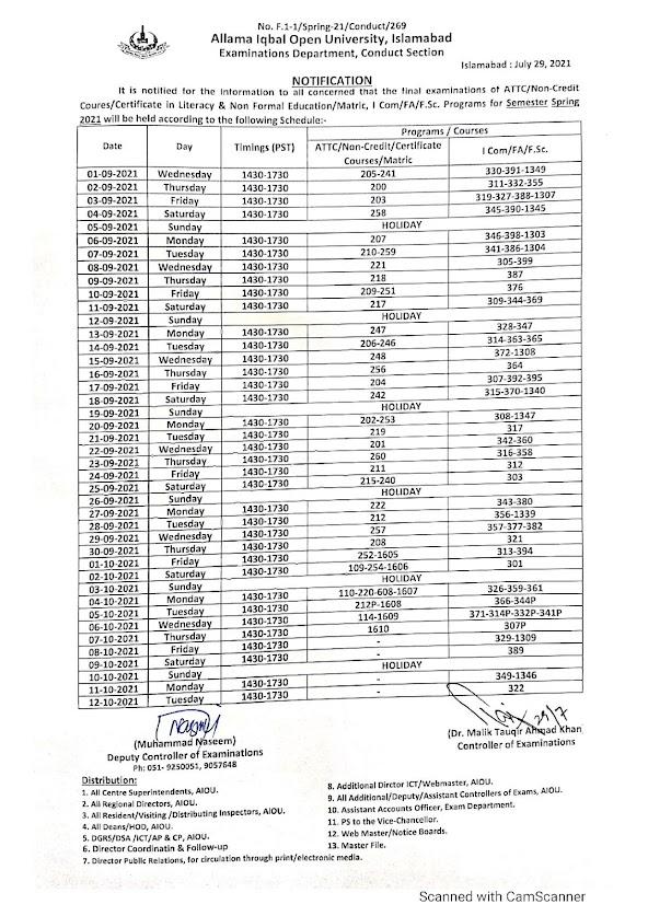 AIOU Matric Date Sheet 2021 - AIOU FA/I.Com/F.Sc Date Sheet 2021 - AIOU Spring Date Sheet 2021