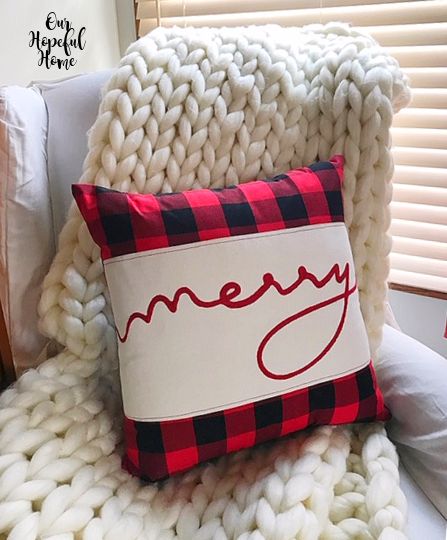 buffalo check pillow white chunky knit throw