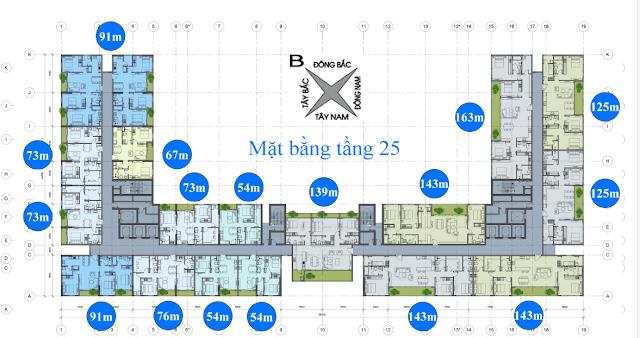 Mặt bằng tầng 25 chung cư Anland Nam Cường
