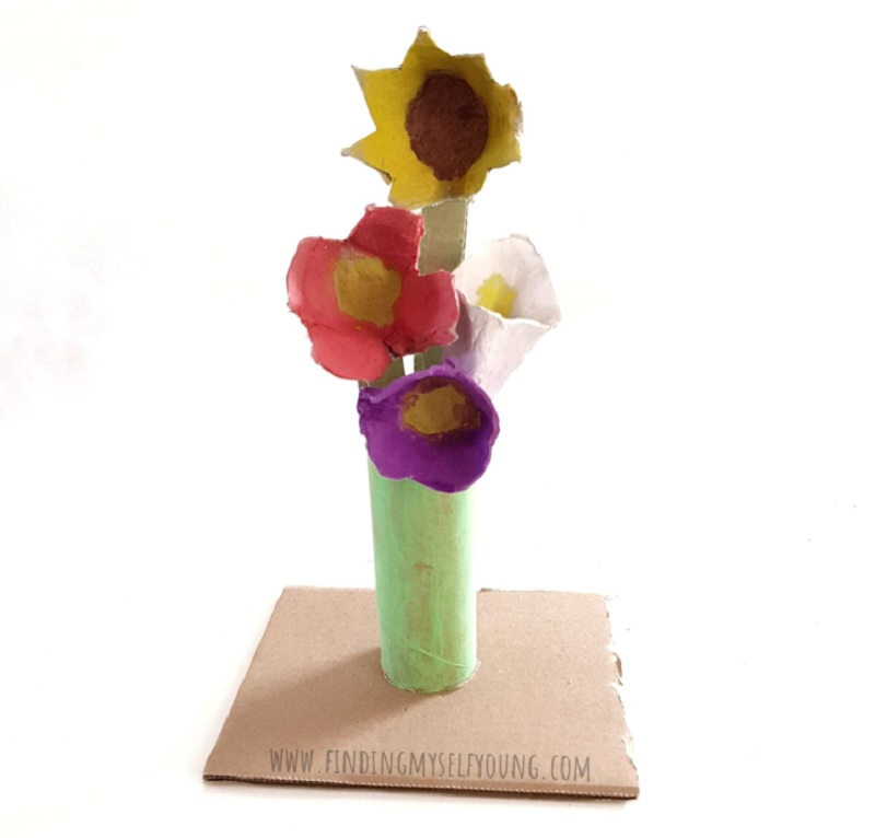 mothers day recycled egg carton floral bouquet