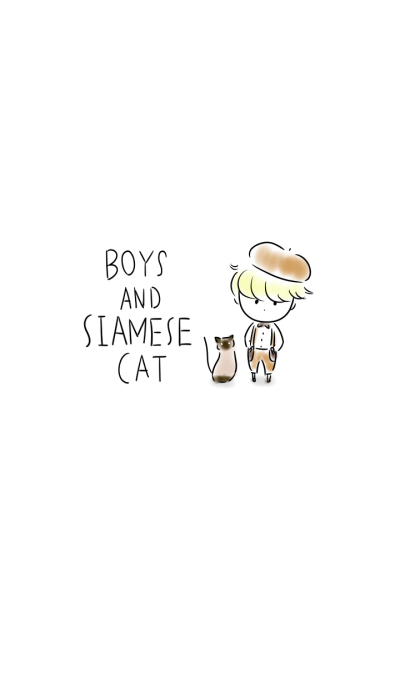 Boys and Siamese cat