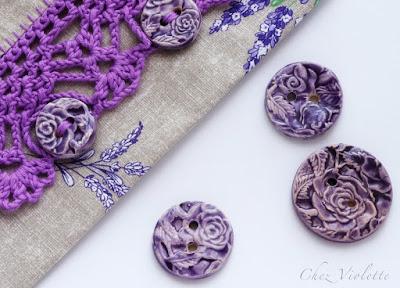 ceramic buttons - lavender pouch clutch - by Chez Violette