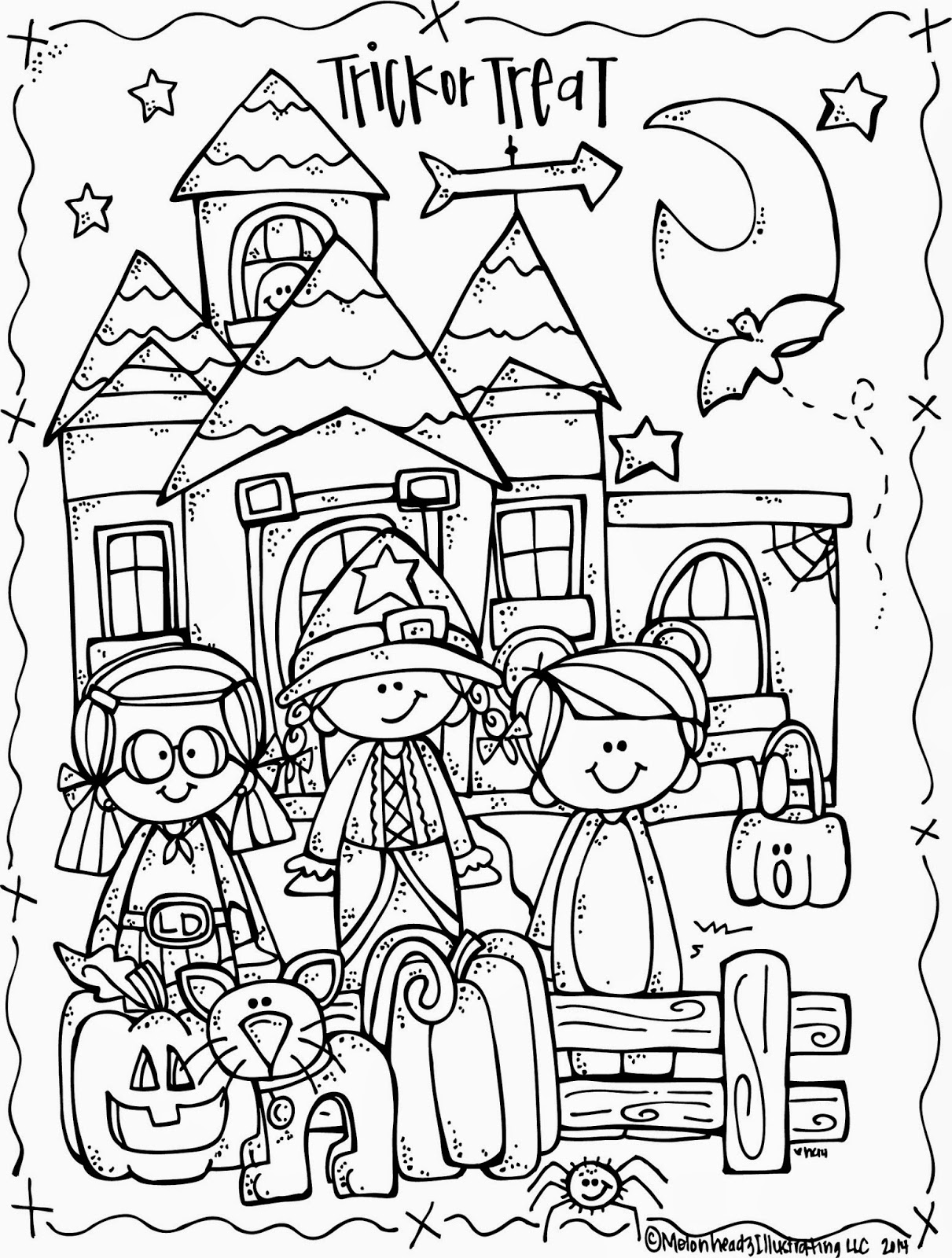 MelonHeadz Lucy Doris Halloween coloring page freebie