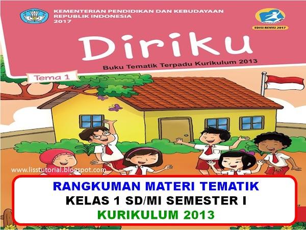 Rangkuman Materi Dan Soal Tematik BDR Kelas 1 SD/MI Kurikulum 2013