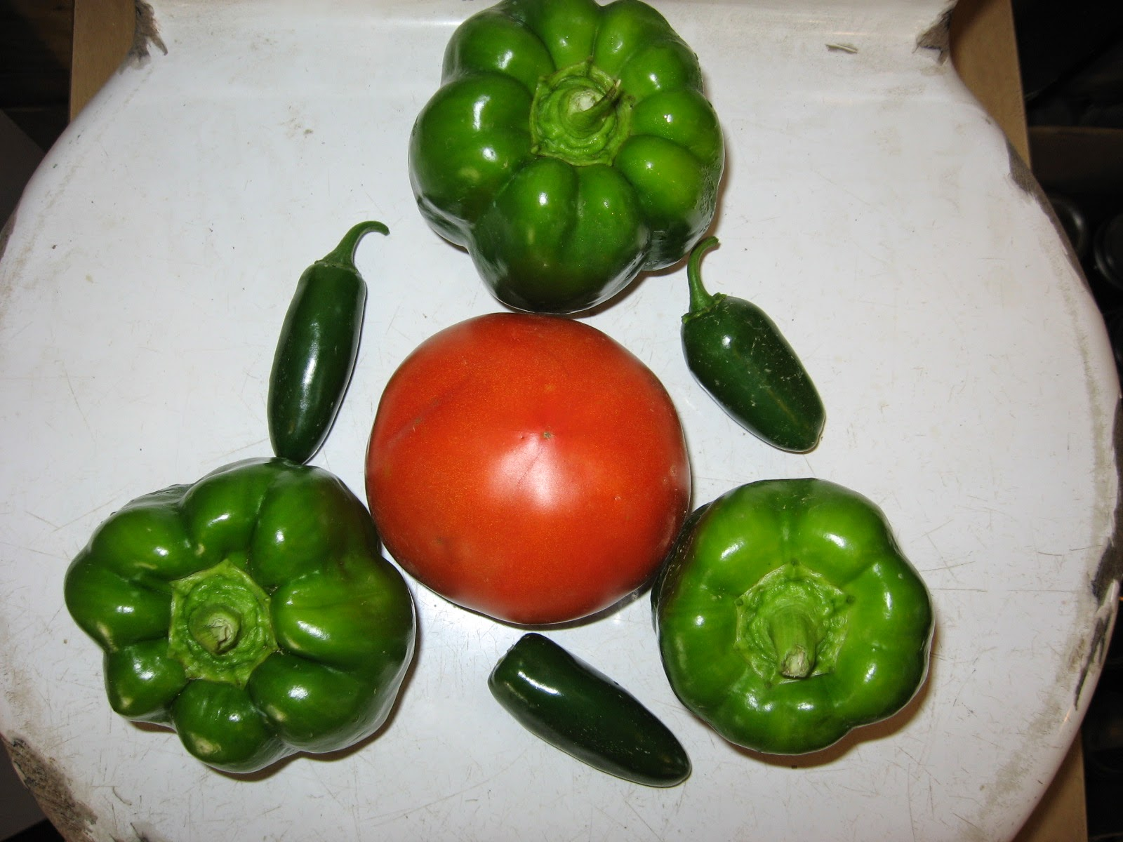 bell peppers, jalapeno peppers, tomato