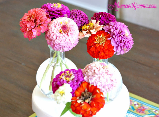 Summer Time flowers in Texas on rustic kitchen table