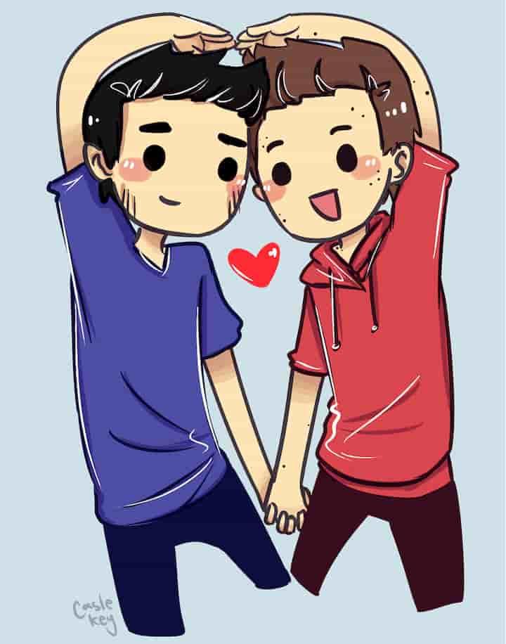 desenho de um casal gay masculino LGBT