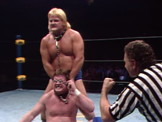 NWA Starrcade 83: A Flare for the Gold - Greg Valentine hurts Roddy Piper in their classic Dog Collar Match