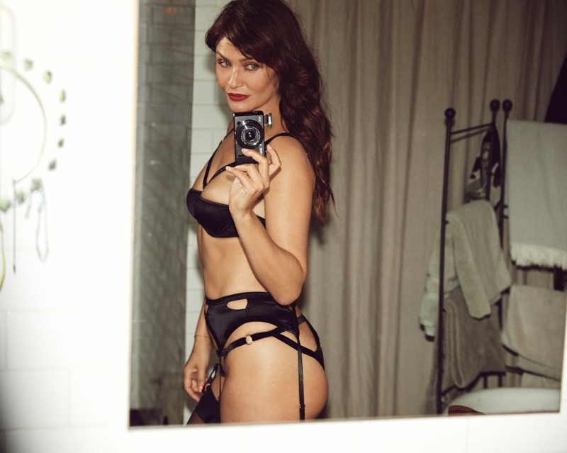 Helena Christensen photographs herself for Coco de Mer's latest campaign.