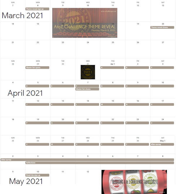 2021 #atozchallenge calendar