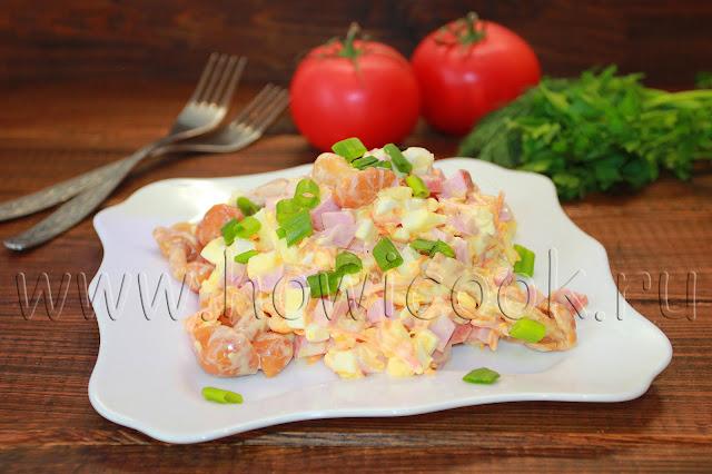 рецепт салата с ветчиной и опятами