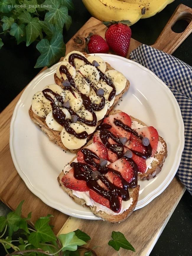 Vegan Loaded Toast 6 Ways - Chocolate Strawberry Toast, Chocolate PB and Banana Toast, Vegan Toast, #ttoasttuesday