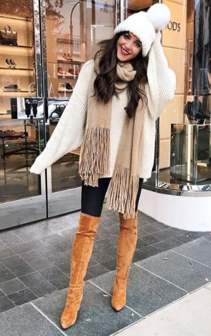 gorgeous winter outfit / scarf + brown over knee boots + knit hat + oversized sweater + black skinnies