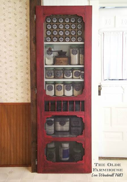 repurposed screen door pantry