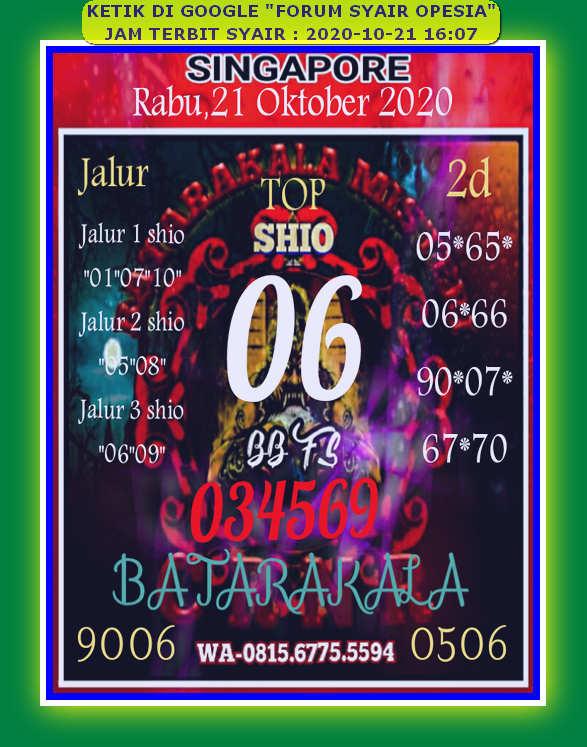 Kode syair Singapore Rabu 21 Oktober 2020 76