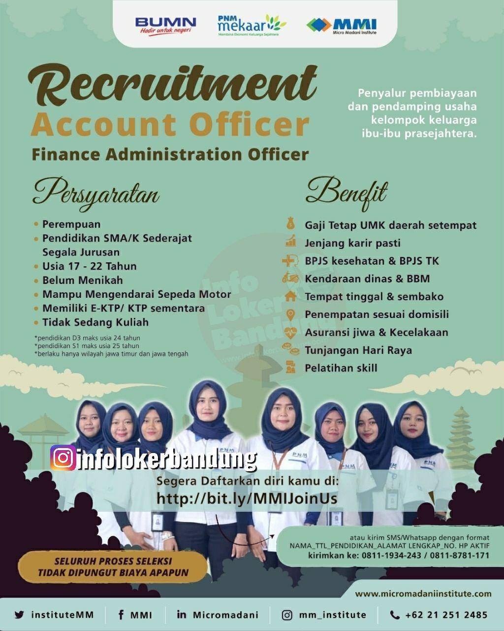 Lowongan Kerja Account Officer & Finance Administration officer Micro Mandani Institute Bandung Maret 2020