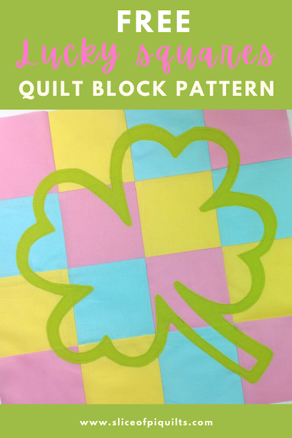 Free four-leaf clover quilt block pattern