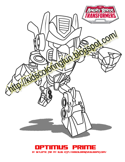 ANGRY BIRDS TRANSFORMER OPTIMUS PRIME COLORING PAGES HERE COME