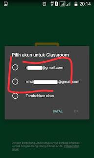 Pilih Akun Google Classroom