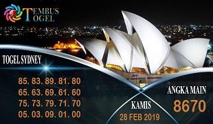 Prediksi Angka Togel Sidney Kamis 28 Februari 2019
