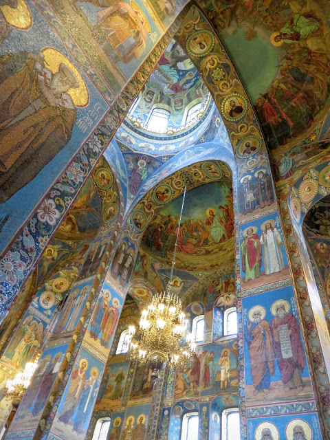 Mosaics inside the Church of the Spilled Blood in St. Petersburg, Russia