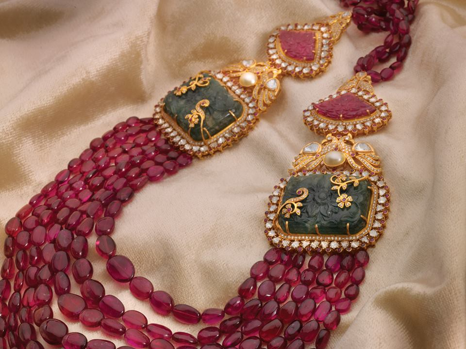 135 Grams Ruby Drops Haram Jewellery Designs