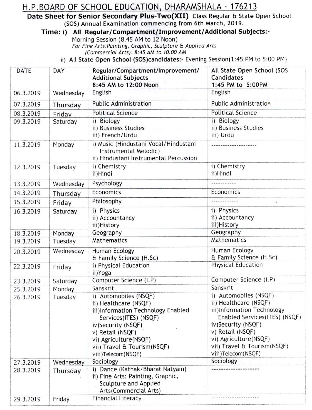 Hp Bose Plus Two 12th Class Examination Time Table 2019