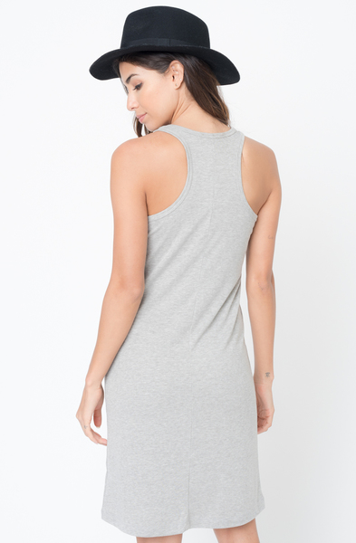 Buy Now Heather grey Scoop Neck Ribbed Tank Dress Online -Final Sale- $20 -@caralase.com