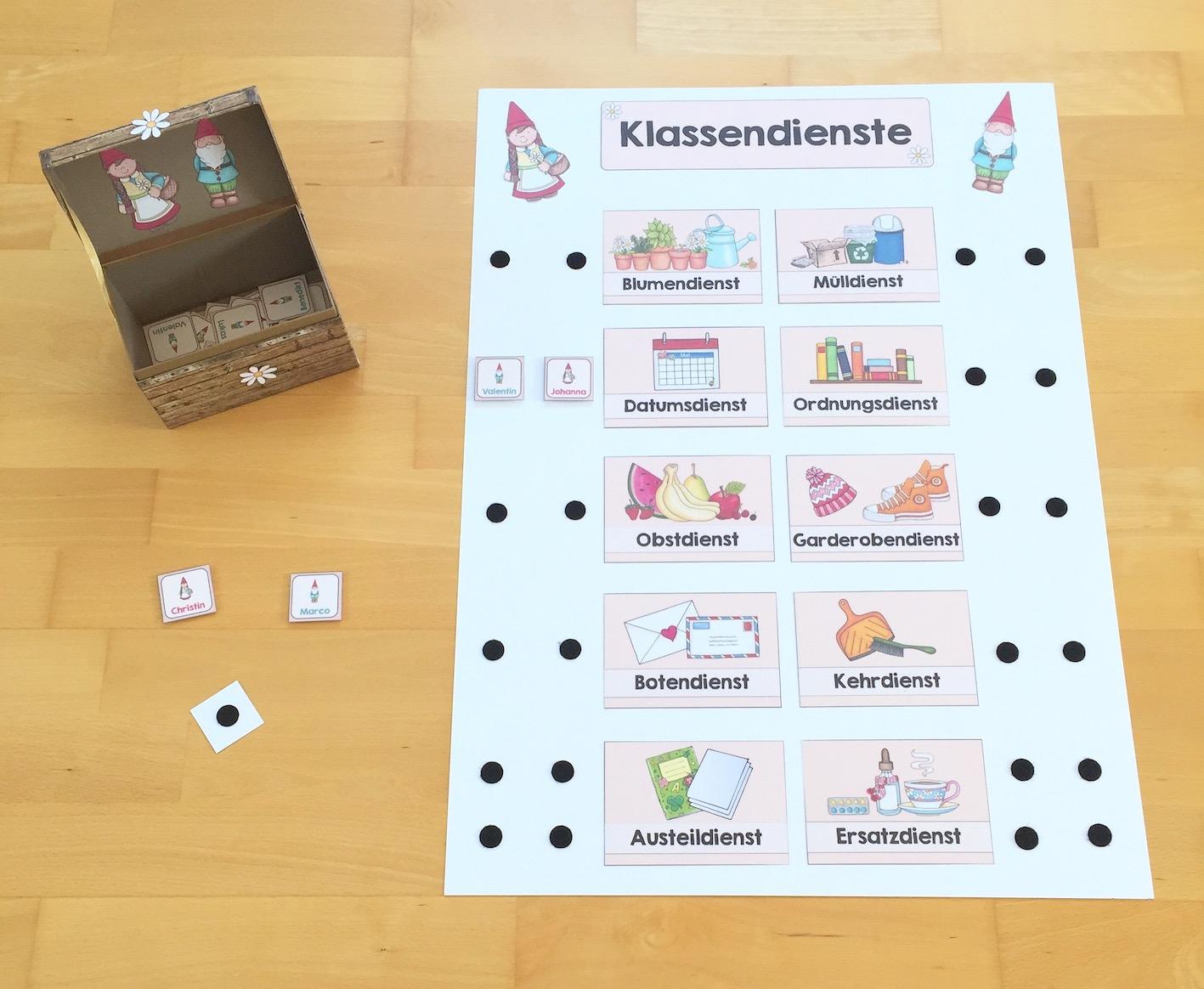 Ordnungsdienst klassenzimmer  Materialwiese: Klassendienste in der Grundschule