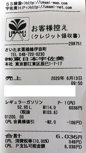東日本宇佐美 埼玉栃木販売支店 2020/6/13 のレシート
