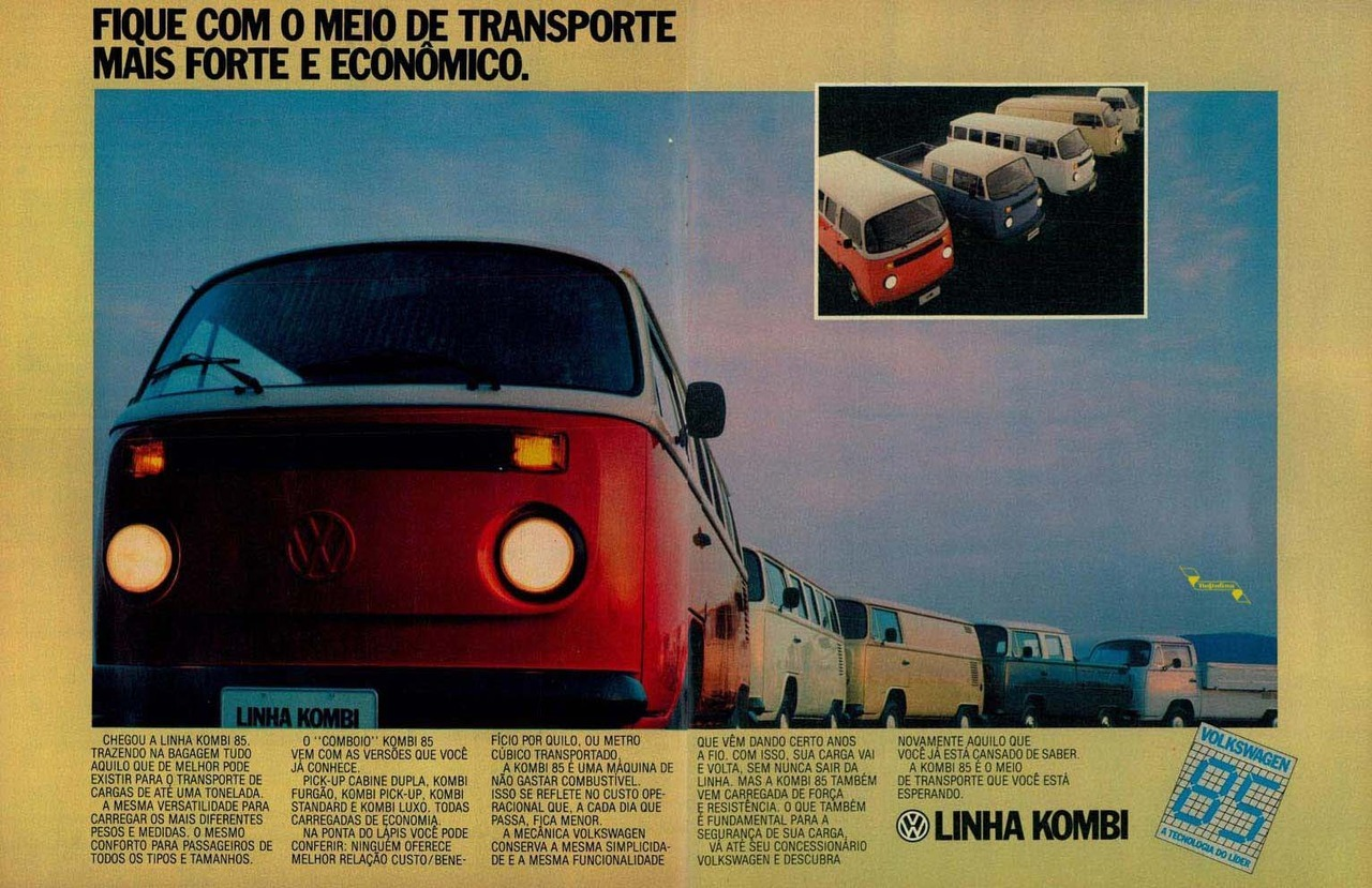 Campanha da Volkswagen apresentando a linha 1985 da Kombi para os brasileiros