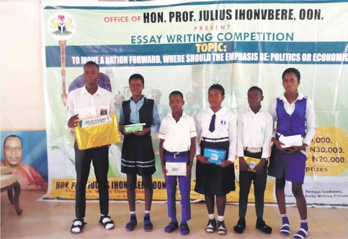 LAWMAKER REWARDS ESSAY COMPETITION WINNERS WITH LAPTOPS, ANDROID PHONES, CASH PRIZES