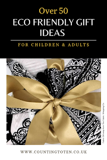 Over 50 Eco Friendly Gift Ideas for Children and Adults and an an image of fabric gift wrap
