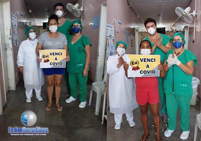 Duas pacientes vencem a Covid-19 e deixam o Hospital de Caraúbas aplaudidas pelos profissionais de saúde