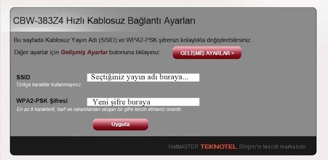 netmaster uydunet wifi modem şifresi parola değiştirme