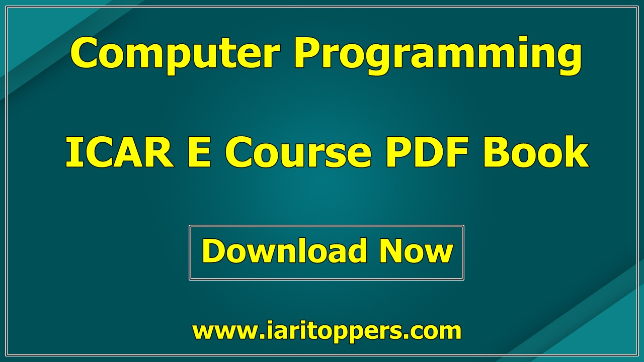 Computer Programming ICAR e course PDF Book Download E Krishi Shiksha