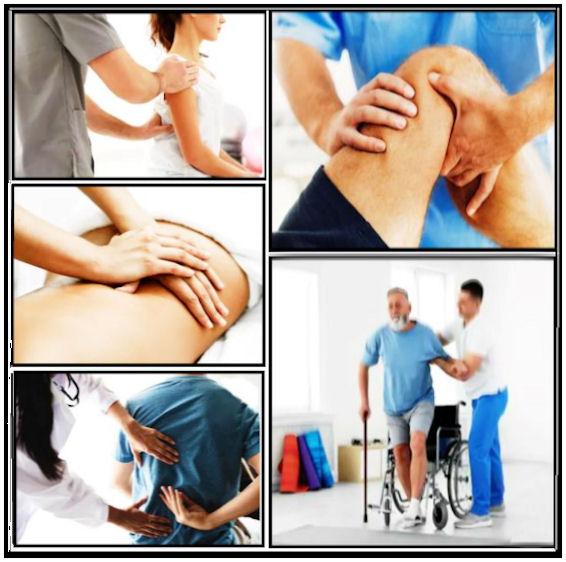 Kuvakoosteessa fysioterapeutti hoitotyössään asiakkaitten erilaisia harjoituksia ohjaamassa, kuntoutusliikkeitä korostaen, eri ruumiinosien ongelmia hoidettaessa.