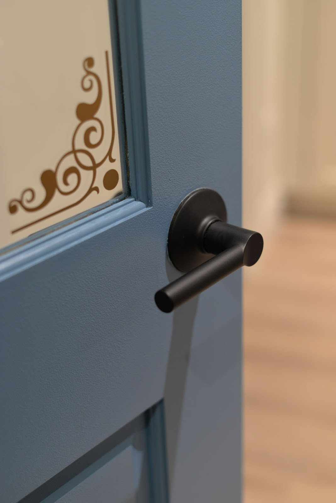 craft room door | behr blue moon bay | schlage broadway lever