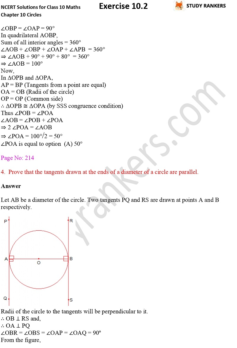 NCERT Solutions for Class 10 Maths Chapter 10 Circles Exercise 10.2 Part 3