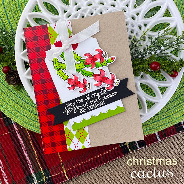 Christmas Cactus Card by Jennifer Jackson | Christmas Cactus Stamp Set, Frames & Flags Die Set and Fancy Edges Tag Die Set by Newton's Nook Designs