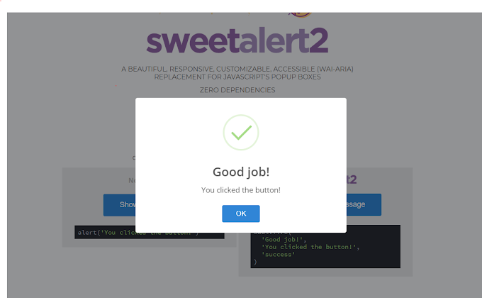Sweetalert2 a beautiful, responsive, customizable, accessible replacement for javascript popup