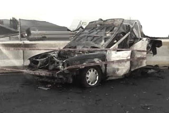 Pasajero al carbón tras choque de taxi en el que viajaba