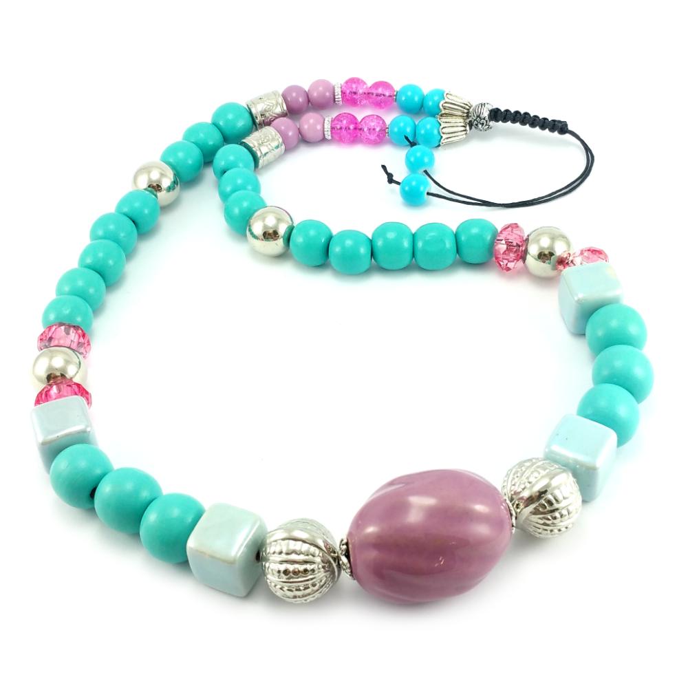 91a6637414156e Nowe, lekkie turkusowo różowe korale na sznurku z drewna, ceramiki, szkła i  akrylu