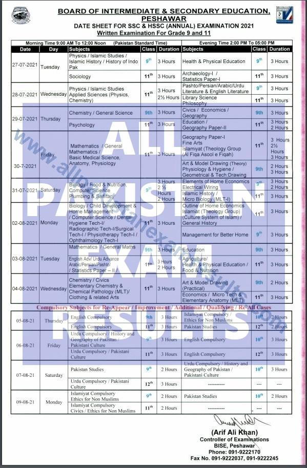BISE Peshawar Date Sheet SSC & HSSC Annual Exam 2021