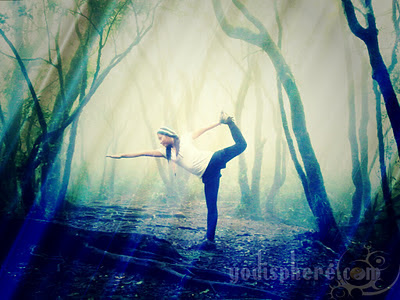 Girl doing Yoga in the Mountain with sunlight and fog
