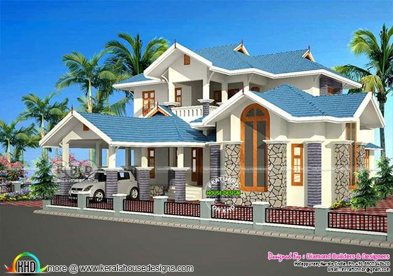 Sloping roof house architecture plan
